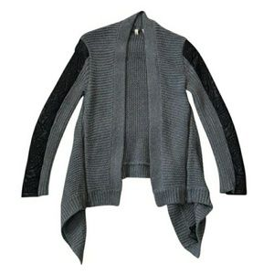 Anthropologie Gray Black Moth Cable Knit Cardigan